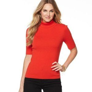 NWT Talbots Soft Fire Red Turtleneck Sweater PL